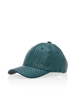 Chevron Embossed Faux Leather Baseball Hat - 3129067447080