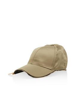 Satin Zipper Trim Baseball Hat - 3129067447088
