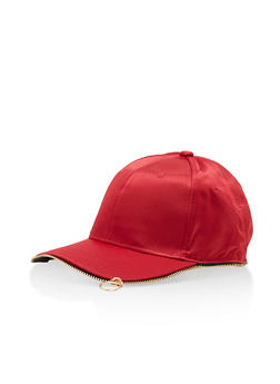 Satin Zipper Trim Baseball Hat - 3129067447088