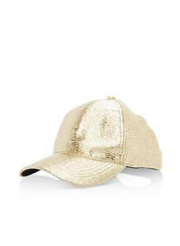 Metallic Crinkled Baseball Hat - 3129067447108