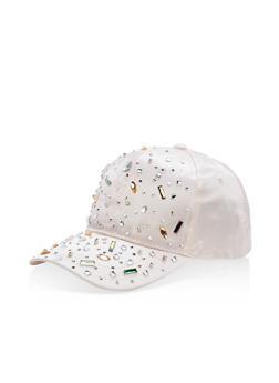Satin Rhinestone Embellished Baseball Hat - 3129067447113