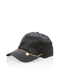 Satin Baseball Hat with Charm Detail - 3129067447114