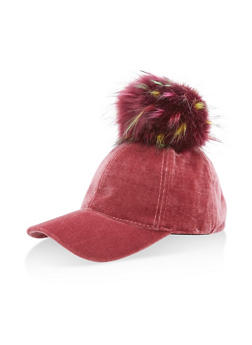 Velvet Pom Pom Baseball Hat - 3129067447117