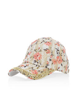 Floral Lace Studded Hat - 3129071210995