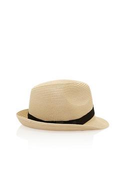 Banded Straw Fedora Hat - 3129071211011