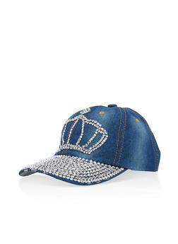 Rhinestone Crown Denim Hat - 3129071214040