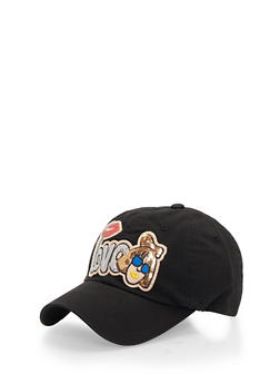 Baseball Hat with Sequined Love Patch - 3129072340076