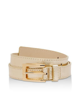 Faux Saffiano Leather Belt - 3129073330803