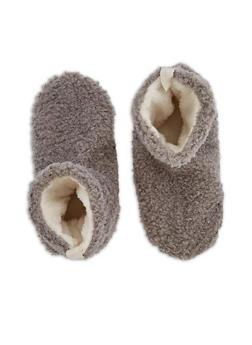 Furry Slipper Sock Booties - GREY - 3130055324101