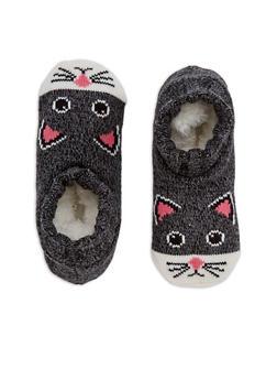 Knit Animal Ankle Slipper Socks - BLACK - 3130055325001