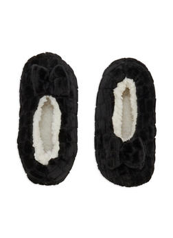 Faux Fur Bow Slipper Socks - 3130055326981