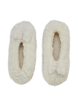 Faux Fur Bow Slipper Socks - IVORY - 3130055326981