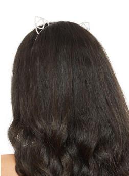 Heart Rhinestone Cat Ear Headband - 3131018435482