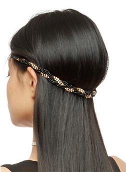 Beaded Rhinestone Twisted Elastic Headband - 3131063090366