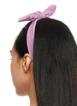Denim Headband with Bow - 3131063090825