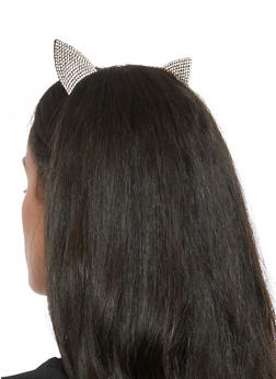 Rhinestone Studded Cat Ear Headband - 3131063090885