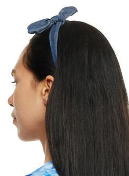 Set of 2 Denim Headbands with Bow - 3131063092267