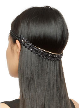 Elastic Flower Beaded Rhinestone Headband - 3131063097001