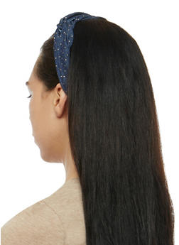 Knotted Metallic Polka Dot Headband - 3131067251224