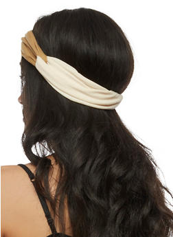 Color Block Knotted Headband - 3131067251445