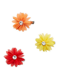 Rhinestone Flower Hair Clip Set - 3131067254205