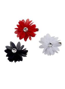 Set of 3 Rhinestone Flower Clips - 3131067255204