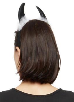 Devil Horn Headband with Boa Trim - 3131073282589