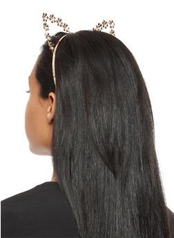 Rhinestone Embellished Flower Cat Ear Headband - 3131073840560