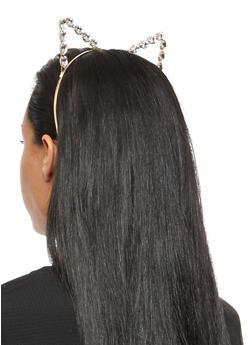 Rhinestone Cat Ear Headband - 3131073840561