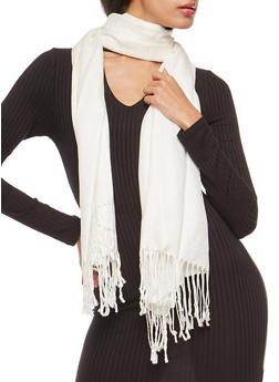 Pashmina Scarf with Fringe - WHITE - 3132051441000