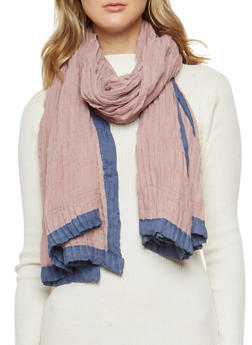 Pleated Two Tone Scarf - 3132067442507