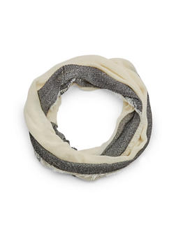 Printed Infinity Scarf with Frayed Trim - IVORY - 3132067443627