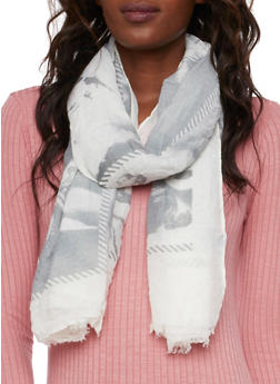 Guazy Scarf with Glamour Girl Print - GRAY - 3132067445073