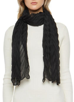 Chevron Crinkle Knit Scarf - BLACK - 3132067445606