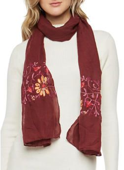 Gauze Knit Floral Embroidered Scarf - BURGUNDY - 3132067447046