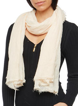 Crinkle Scarf with Frayed Edges - NATURAL - 3132067447048