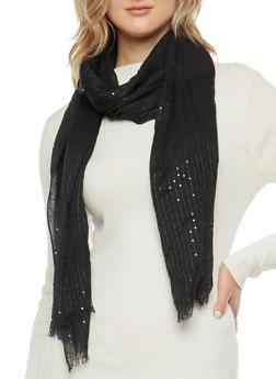 Sequin Knit Scarf - BLACK - 3132067447050