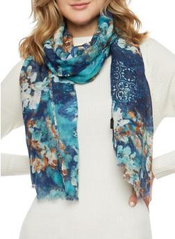 Blue Floral Print Scarf - 3132067447054