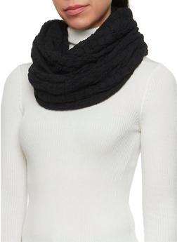 Gauze Infinity Scarf with Chevron Stitching - BLACK - 3132070431509