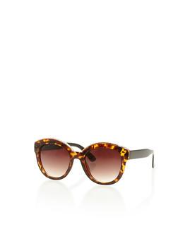 Round Cat Eye Sunglasses with Metallic Brow Trim - 3133004260864