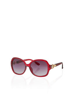 Oversized Oval Sunglasses with Metallic Accent - 3133004261833