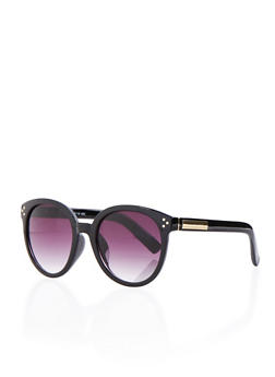 Round Sunglasses with Metallic Accented Arms - BLACK - 3133004264102
