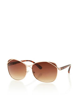 Square Aviator Sunglasses with Cross Wire Accent - 3133004264250