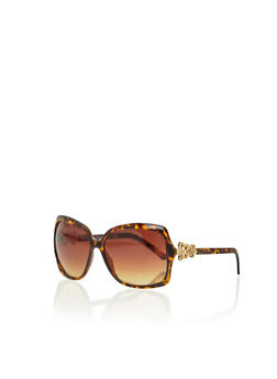 Oversized Square Sunglasses with Flower Accents - BROWN PTN - 3133004264274
