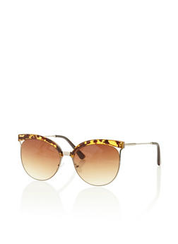 Round Sunglasses with Contrast Brow - 3133004264371