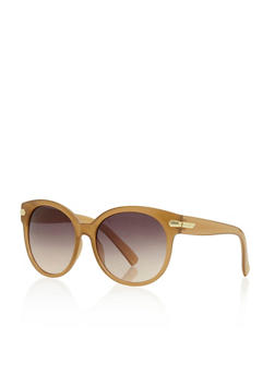 Round Sunglasses with Metallic Accent - 3133004265414