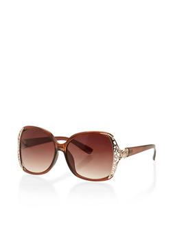 Oversized Square Sunglasses with Filigree Trim - 3133004265437