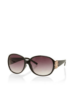 Oval Sunglasses with Metal Flower Medallion - 3133004266674