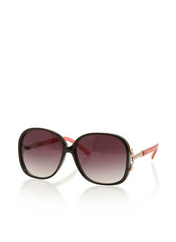 Oversized Square Sunglasses with Metal Accent - 3133004267383