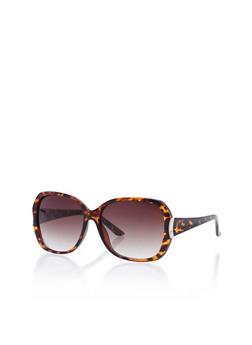 Square Sunglasses with Metallic Accent - 3133004267834